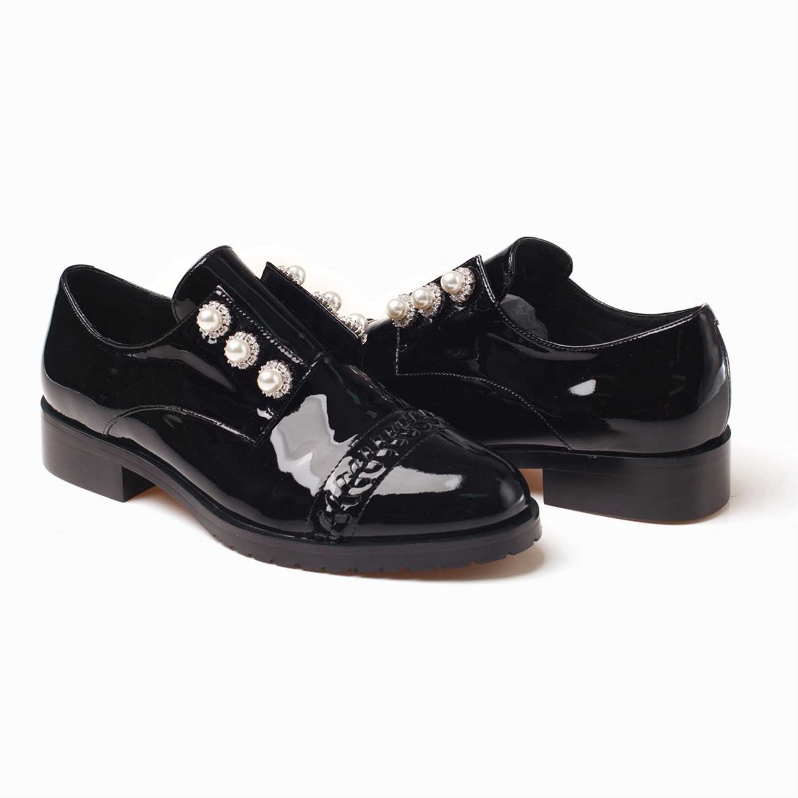 f195ae94761 Details about UGG OZWEAR LADIES PIA OXFORD SHOES WITH PEARL GENUINE LEATHER  BLACK FLATS OB261