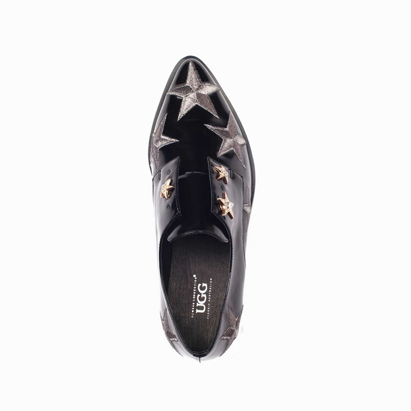 6b1a56e5e6a Details about UGG OZWEAR LADIES WILLA OXFORD STAR DETAIL GENUINE LEATHER  BLACK FLATS OB262