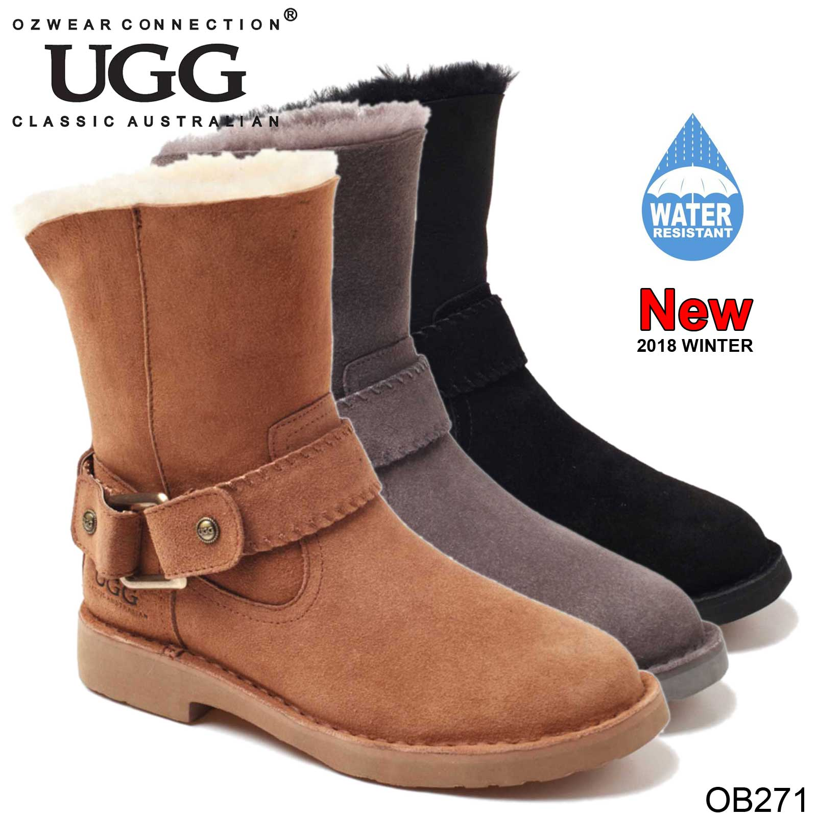 db1123cc437 Details about UGG OZWEAR Ladies LARA BUCKLE STRAP BOOTS SUEDE SHEEPSKIN  WATER RESISTANT OB271