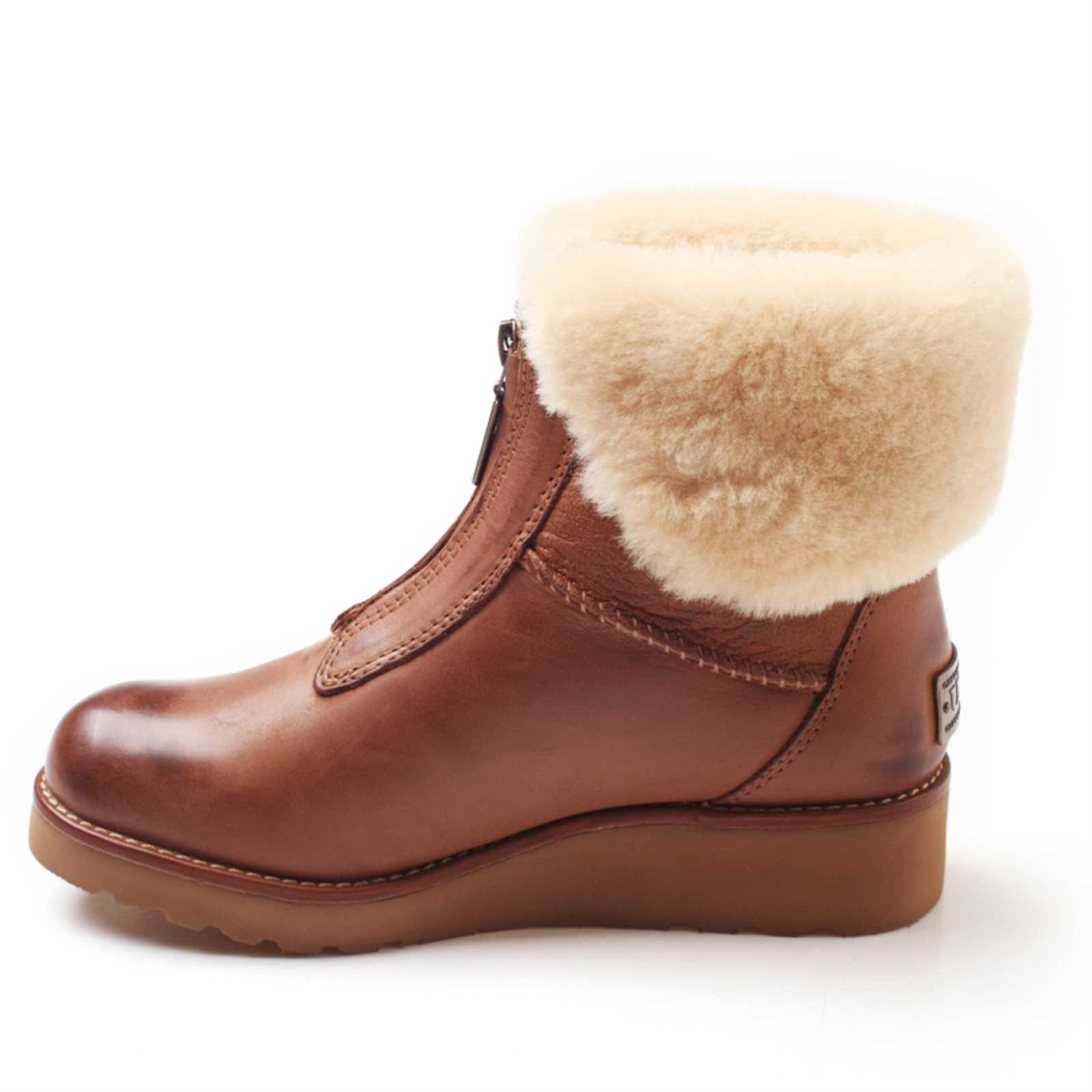 6644e6cb80b Details about UGG OZWEAR Ladies ABIR COLLAR ZIP BOOTS COWHIDE+SHEEPSKIN  WATER RESISTANT OB274