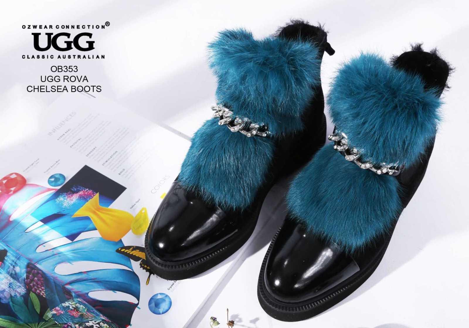 c1b67514da3 Details about UGG OZWEAR LADIES ROVA CHELSEA BOOTS COWHIDE SUEDE SHEEPSKIN  FASHION BOOTS OB353