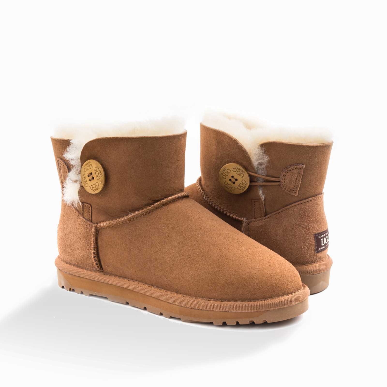 6859c74431d Details about UGG OZWEAR 3rd Gen Ladies Classic Mini Button Boots Sheepskin  Water Resist OB362