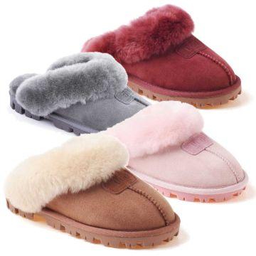 UGG OZWEAR Ladies Coquette Slip On Double Face Sheepskin Fur Scuff Slipper