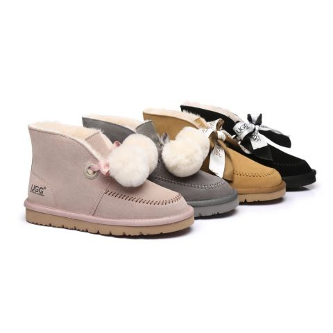 Australian Shepherd UGG Ribbon Pom Pom Boots Doreen
