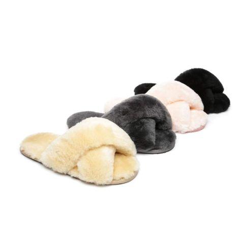 AS UGG Cross Fluffy Slides Linty