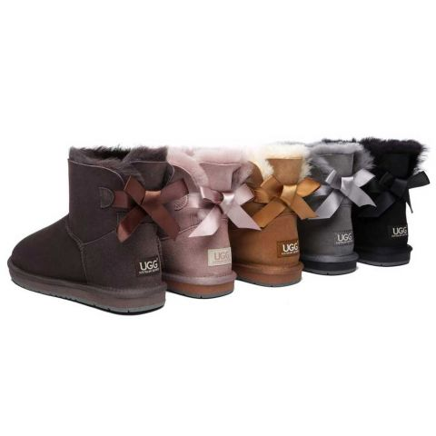 Women Mini Ugg Boots with Single Back Bow