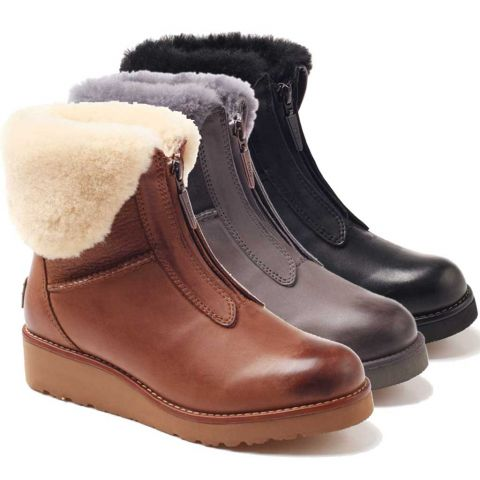 UGG OZWEAR Ladies Abir Collar Zip Boots Cowhide+Sheepskin Water Resistant