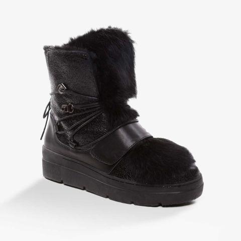 UGG OZWEAR Ladies Black Hazel Snow Boots With A Detachable Fur Premium Sheepskin