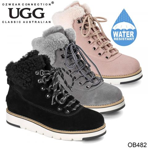 UGG OZWEAR Women's Ugg Lori Lace Up Sneaker Boots Cows Suede + Sheepskin Wool Ob482