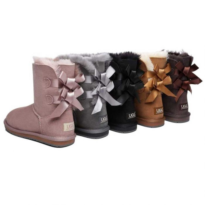 UGG Women Boots with Double Back Bow, Double-Face Sheepskin Short Ugg Boots