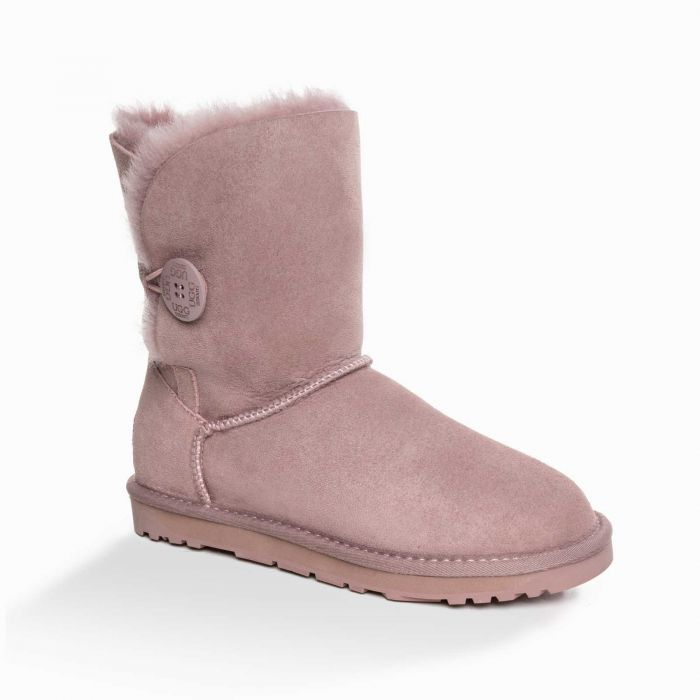 UGG OZWEAR 3rd Gen Ladies Classic 3/4 Short Button Boots Sheepskin Rosy Brown Colour Ob363n