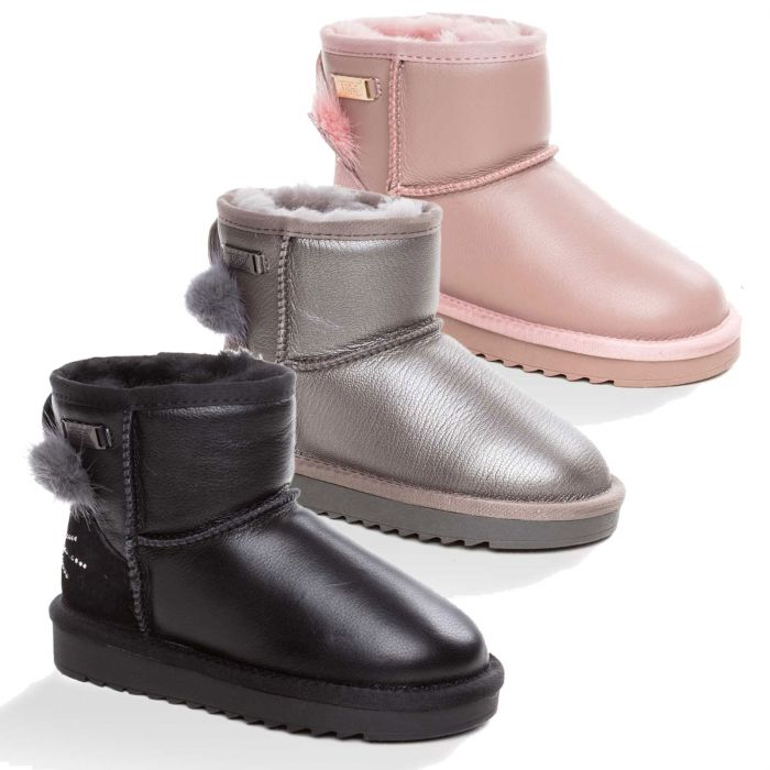 UGG OZWEAR Kids Millie Cat Mini Boots Cow Suede Premium Sheepskin Wool Ob393