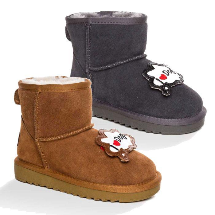 UGG OZWEAR Kids I Love Dog Mini Boots Cow Suede Premium Sheepskin Wool Ob397