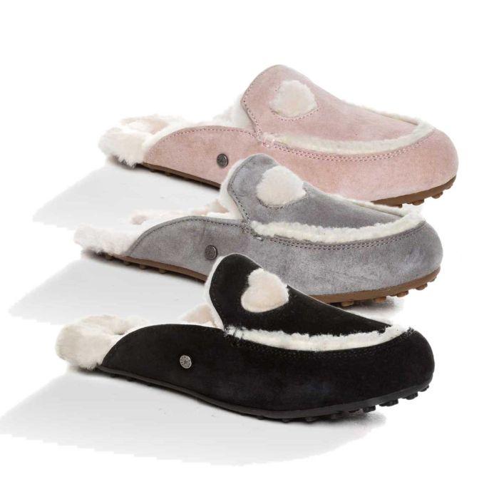 UGG OZWEAR Ladies Eva Love Heart Slipper Australian Premium Sheepskin Ob398