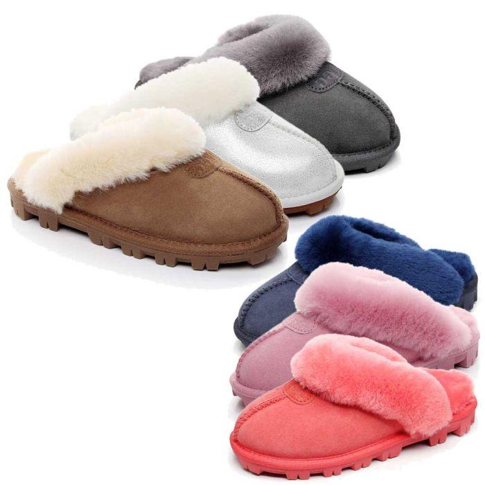 MUBO UGG Ladies Slippers Double Face Australia Premium Sheepskin Fur Scuff Sw1200s